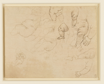 <p>A sheet of numerous studies of a naked baby, chiefly of the legs: two are of the body, one in profile to the left, the other three-quarters to the left, with the fingers in the mouth. Melzi's number <em>4</em>.</p>  <p>This is a typically spontane