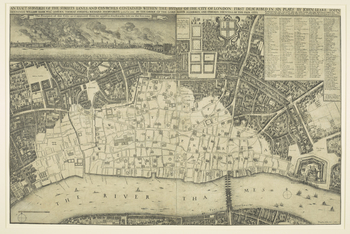 The left half of an etched map of London, after the Great Fire: the print combines a panoramic view of the burning city, as seen from Southwark on the South Bank, with a map of the devastated city from Temple in the west to the Tower in the east, on a sca