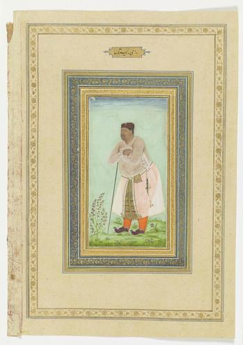 Verso:    Portrait of Rai Rai Singh, c.1610-20.  Rai Rai Singh (d. 1612) was a Ranjput nobleman and general in the Mughal army. In 1586, his daughter became the third Hindu wife of Prince Salim (later Emperor Jahangir). This portrait depicts Rai Rai Singh