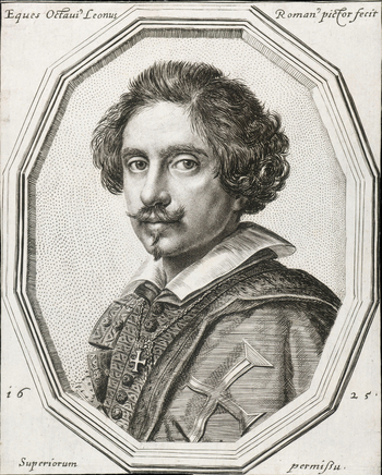 An engraved self-portrait of Ottavio Leoni, bust length, turned towards the left; framed in a dodecagon. This print is lettered around the portrait: