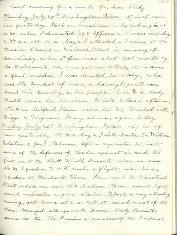 In these entries, King George V records his private thoughts at the breaking news of the Russian Revolution in March 1917, and his attendance at a memorial service in July 1918 following the announcement of Nicholas II's death. In both entries, the King