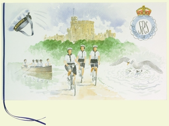 This hand-painted card was presented jointly by members of the Sea Rangers crew who served with Princess Elizabeth on SRS Duke of York at the end of the Second World War. One scene shows the crew practising their rowing skills on the lake at Frogmore. The