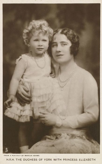Postcard of Queen Elizabeth (1900-2002), when the Duchess of York on the right, with her daughter, Queen Elizabeth II (b. 1926), when Princess Elizabeth. 