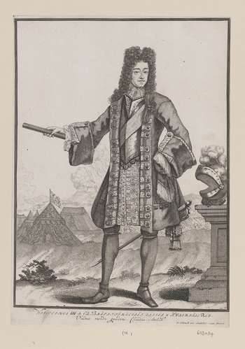 Etching with engraving of William III as king. Whole length with wig, lace cravat, armour, sash and brocade coat, with baton in right hand. With plumed helmet on table to right and with the view of a campsite and battle in the background. With Latin inscr