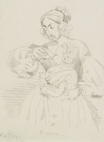 An etching showing the infant Victoria, Princess Royal, sitting in her nurse's lap and being fed with a bottle. She is shown facing left in profile and is wearing a frilled bonnet. This is another impression of RCIN 816163, after a drawing- RCIN 981594. I