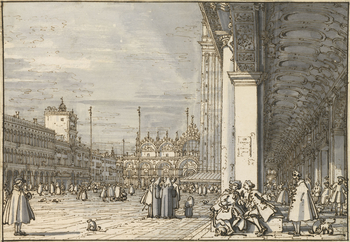 A drawing of a view in Piazza San Marco in Venice. On the right is a view through the arcade of the Procuratie Nuove. Two men are shown conversing in the foreground. Other figures are shown in the piazza and under the arcade. On the left is the east end o