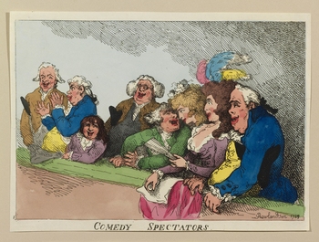 A hand-coloured print of a group of male and female spectators within a theatre enjoying a comedic performance. The print is one half of a full plate (the other half is RCIN 810351). Inscribed in the plate: Rowlandson 1789