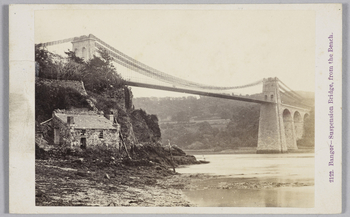Carte-de-visite issued by Francis Bedford (1815-94) of the Suspension Bridge at Bangor in Wales. The reverse of the carte has a crest that reads 'Photographed by F Bedford, Photographer to HRH The Prince of Wales'.  This carte-de-visite (literally a 'visi