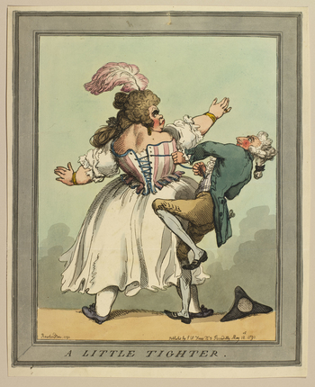 A hand-coloured print of a tailor struggling to fasten the corset of a large woman who stands with her back to the viewer. The dressmaker's tricorn hat has fallen off during the struggle and lies on the ground at the bottom right. Companion print to RCIN