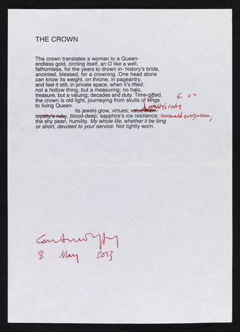 Carol Ann Duffy wrote The Crown for the 60th anniversary of the Coronation, and it was read at the Service of Thanksgiving. The poem celebrates the historic significance of the crown worn by The Queen. This is the typescript copy of the poem, to which she