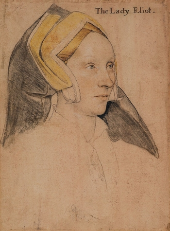 A portrait drawing of Margaret, Lady Elyot (c.1500-1560), daughter of Sir Maurice à Barrow, and wife of Sir Thomas Elyot. The portrait shows her head and shoulders facing three-quarters to the right. She wears a yellow gable headdress and pendant. A comp