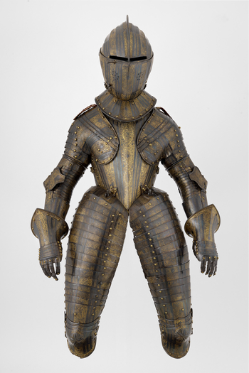 Cuirassier armour of Henry, future Prince of Wales, consisting of a close helmet for the field, a gorget, a cuirass, a pair of tassets with detachable extensions to the knees, a culet, a pair of symmetrical pauldrons and vambraces, a pair of gauntlets and