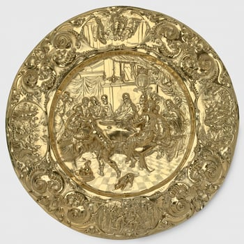 A silver-gilt alms dish, the centre deeply embossed with a scene of The Last Supper and the royal Stuart arms (1603-89) prominently displayed to the right of Christ's head; the broad rim with auricular scrollwork and oval reserves containi