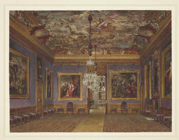 A watercolour view of the interior of the King's Drawing Room, Windsor Castle, prepared for one of the plates in William Henry Pyne's 'History of the Royal Residences' (1816-1819). Engraved by T. Sutherland, the print was published on 1 December 1817.<br>