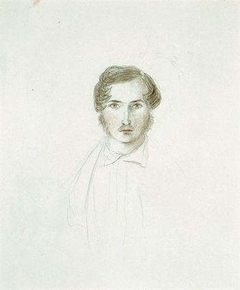 A pencil drawing with touches of coloured crayon and watercolour showing a bust-length portrait of Prince Albert. He is shown facing forward and is wearing a shirt and jacket. Watercolour colour tests are shown at the top of the sheet. <br /><br />Verso: