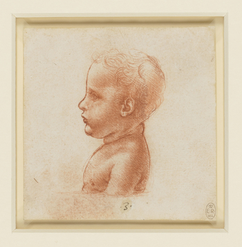 A delicate profile drawing of the bust of a child, turned in profile to the left and terminating at a clear horizontal line. Melzi's number <em>3</em>.<br> <br>This drawing is related to two other studies of the bust of a child, RCIN 912567. The ches