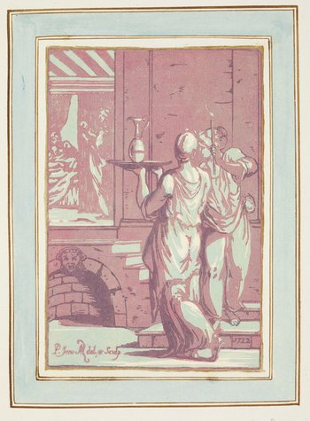 A chiaroscuro woodcut from three blocks showing two full length female servants carrying vessels to a chamber behind. Printed in blue and purple inks and mounted on an album sheet with a wash-line border. Lettered below:<em>P. inu.AMZ </em>[mo