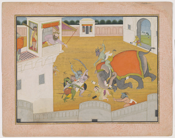 Illustration to Book 7 of the <em>Bhagavata Purana</em>, Chapter 5: Hiranyakashipu watches on from a balcony as the demons attempt to crush Prahlada with an elephant. The boy lies on the floor unharmed thanks to Vishnu's protection. The elephant's tusks a