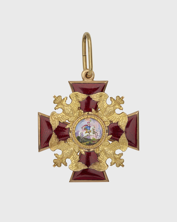 Gold-rimmed red enamel cross patée, gold imperial eagles between arms; centre O/: St A riding horse towards city on right, hand holding laurel wreath above, coloured enamel; R/: crowned entwined SA