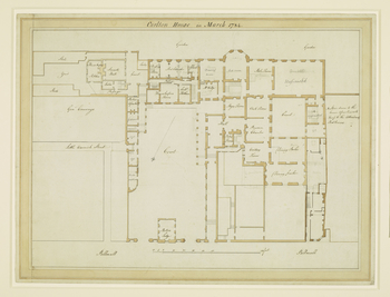 A ground floor plan of Carlton House, showing the house as it appeared in 1784, shortly after it had been taken over by George, Prince of Wales. This is one of a number of plans of the house prepared by Henry Holland, the architect employed by George to r