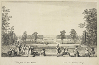 An etching of a view from the Brick Temple at Stowe. A view towards an obelisk at centre, with figures seated and conversing on steps in the foreground. Lettered below in English and French, View from the Brick Temple and Veue prise du Temp