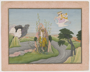 <p>Illustration to Book 7 of the <em>Bhagavata Purana</em>, Chapter 3: Hiranyakashipu performs penance to the god Brahma in order that he may be granted a wish. In the centre of the painting Hiranyakashipu stands in the middle of an anthill covered by gra