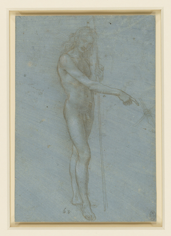 A study of a nude young man, standing turned half to the right, pointing to the right with his right arm. His left hand is resting on a staff. His head with long waving hair, is bent slightly forward and he looks at the spectator. On the right is a sketch