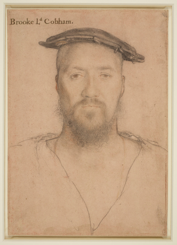 A portrait drawing of George Brooke, 9th Baron Cobham (c.1497-1558). A bust length portrait facing to the front. He wears a cap with badge and a neck chain. Inscribed in an eighteenth-century hand at upper left: Brooke Ld Cobham.