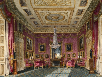 Irregular room with bow end, dressed with red satin damask on walls and curtains. Dutch and Flemish pictures on walls. gilt stucco ceiling. Fireplace and mirror at end, window to left. Sevres china on tables by chairs. Blue/yellow carpet.