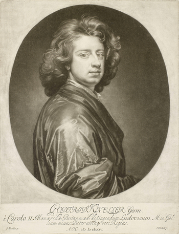 A mezzotint after a self-portrait of Sir Godfrey Kneller; almost half length, turned to the right, with his face turned three-quarters to the right. Oval format. 1st state. Inscribed below: GODFRID' KNELLER Germ: / a Carolo ii. Monarcha Britann: