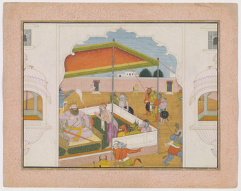 <p>Illustration to Book 7 of the <em>Bhagavata Purana</em>, Chapter 5: Shukracharya advises Hiranyakashipu not to fear Prahlada or to try to kill him but to keep him bound by ropes.</p>