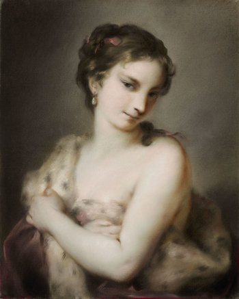A pastel on blue paper of an almost half-length figure of a young girl, facing half to the left, her head lowered and turned half to the right; clasping a fur-trimmed wrap across her naked chest, across which her left arm is extended. At bottom edge, unde
