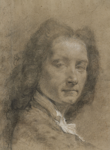 A self-portrait drawing of Giovanni Battista Piazzetta. His shoulders are turned to the right, and his head is turned three-quarters to the right. He wears a dark curling wig.Piazzetta often used his wife, his son and himself as models for his drawings an
