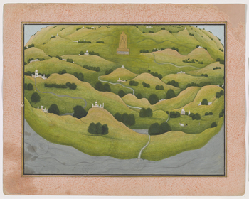 <p>Illustration to Book 3 of the <em>Bhagavata Purana</em>, Chapter 13: having been lifted from the flood water by Varaha, the earth shines in the splendour of its great mountain peaks. A green and lush landscape is dotted with marble palaces and shrines