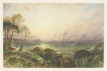 A watercolour showing a romantic view of the city of Manchester with many church spires and smoking chimneys, seen from an idyllic country park (Kersal Moor) with a lake. Rustic figures and goats are visible in the foreground. Signed and dated bottom left