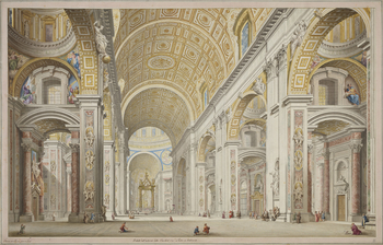 A hand-coloured etching showing a view of the interior of St Peter's Basilica in the Vatican. Inscribed in ink on the artist's mount with the title and 'Francesco Panini fece in Roma'.