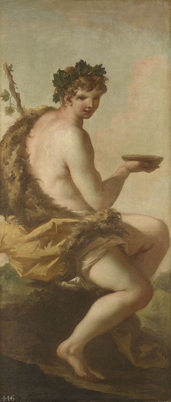 Bacchus, the god of wine, is here seated facing to the right, with his head turned towards the viewer. He wears vine leaves in his hair, in reference to the grape harvest, and has an animal skin draped around his left shoulder. In his right hand he holds