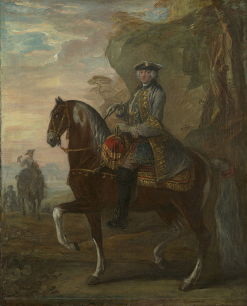 This is one of a pair of paintings (403389 and 403390) acquired by George IV from Colnaghi's in 9 May 1808 for 30 guineas the pair. <br> <br>A man seated on a piebald horse that is facing to the left in a rocky landscape; the man is wearing a grey coat wi