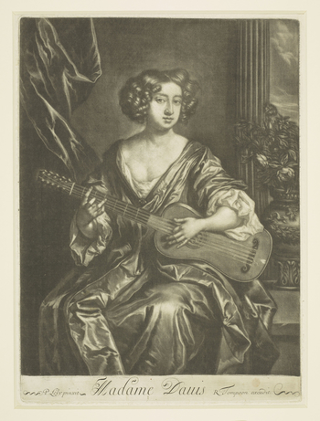 A mezzotint of Mary Davis playing a guitar, after aportrait by Sir Peter Lely: three-quarter length, seated; her body is turned to the front and her head is turned slightly to the right.Her hair isin short curls, and she wears a loose go