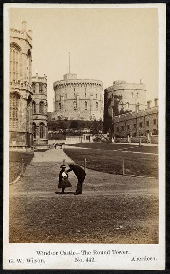 <p>Photograph of the Middle Ward of Windsor Castle with St George's Chapel on the left and the Round Tower in the centre of the background. On the right stands King Henry III Towertogether withthe Military Knight's Lodgings. In the middle grou
