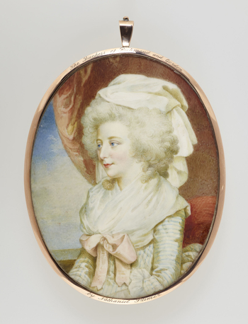 Charlotte (1768-1842) was the daughter of the 4th Duke of Gordon. She married Charles, Duke of Richmond and Lennox, in 1789. They had seven sons and seven daughters. She was described some years after her death as 'excessively proud, and disdainful of p