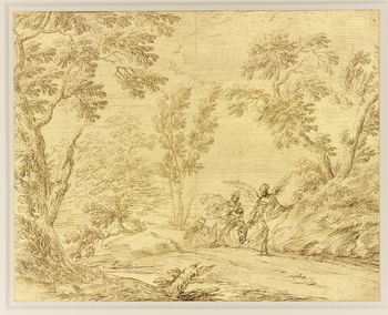 A drawing of a landscape with a road upon which a donkey, carrying the Virgin and Child, is being led by an angel. Joseph follows on behind.  This unusual drawing and its companion (RCIN 905739) are on paper which has been completely covered with gold lea