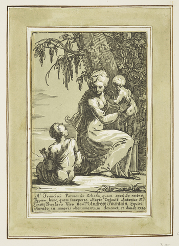 Bartsch 27. Full length figure of a woman, holding up the baby, looking down at the boy sitting to left, partly clothed. Trees in b'gd. Khaki colouring. Inscription and signature below.