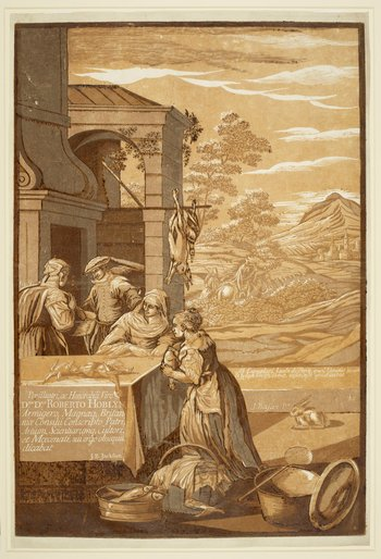 The firstof two sheets of achiaroscuro woodcut print,illustrating the biblical parable of the rich man and Lazarus: an exterior scene in which two women stand at a table upon which poultry is being prepared