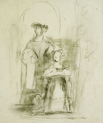 Charcoal sketch showing outline of a kneeling figure and figure behind to left.