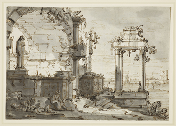 Recto: A drawing of an invented view, known as a capriccio. The drawing shows ruins of a church and an arch, and a sculpture of the Madonna and child. Beyond is the lagoon. <br>Verso: Architectural sketches.<br> <br>To the left is the ruined arcade of a R