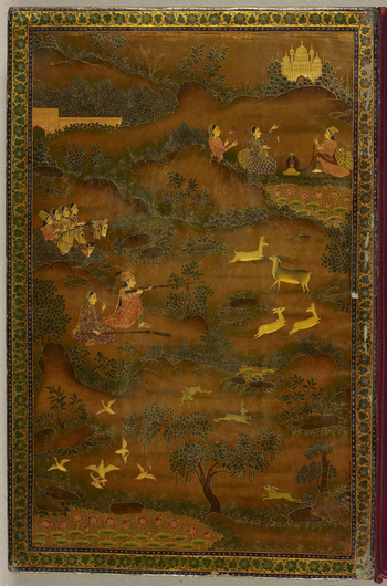Painted and lacquered bindings.Outer covers decorated with floral arabesques on dark ochre ground, scalloped medallions at the centre and wide borders with white cartouches containing floral motifs.Front inside cover decorated with a scene of Baz Bahadur
