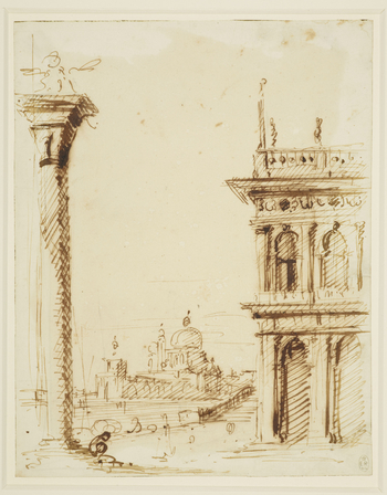 A drawing of the Piazzetta in Venice. The drawing is framed by the column of San Marco on the left, and the south east corner of the Libreria on the right. In the distance, across the canal is the Dogana and church of Santa Maria della Salute. To see the