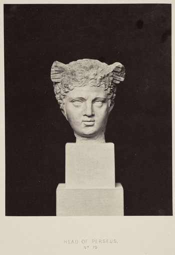 Photograph of a marble statue of the head of Perseus by Francis Bedford. After accompanying the Prince of Wales, later King Edward VII, on his 1862 tour of the Middle East Bedford undertook few new projects. One involved photographing recently a