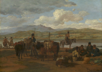 A small group of Cossacks are resting in front of a lake with buildings and mountains beyond; in the centre one man tends to the horses, another, mounted, leans on his lance. On the right four men are seated, or lying, conversing by a pile of vegetables.